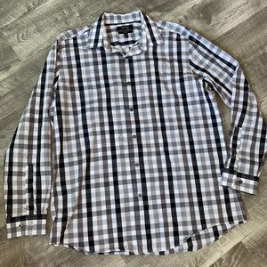 Men's Button Down Dress Shirt Check Plaid